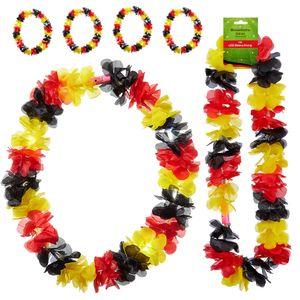 Blütenkette Deutschland mit LED 6er Set Schwarz/Rot/Gold Fanartikel Fussball Leuchtkette inkl. 3 LR44 Knopfzellen