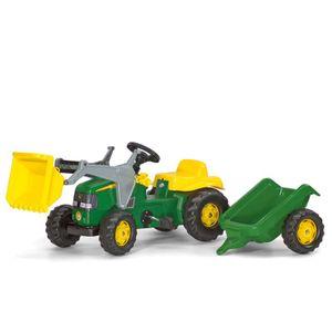 rolly toys Kid John Deere Trettraktor mit Schaufellader und Anhänger, Maße: 161x47x55 cm; 02 311 0