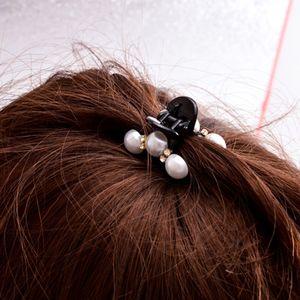 Damen Perlen Haarklammer Haargreifer Haarkralle Haarschmuck Haare Krebse in S Schwarz