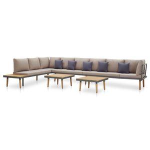 Hochwertigen Garten Sitzgruppe Gartengarnitur - 7-teiliges Garten-Lounge-Set - Gartengarnitur Set mit Auflagen Massivholz Akazie☆4194