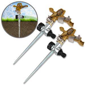Sprinkler 2er Set Rasensprenger | mit Erdspieß | Bewässerungsweite 26m | 360° Sprühaufsatz | inkl. Kupplungsstecker Kreisregner