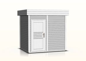 Saunahaus Tihama 40 mm, Farbe: Grau / Weiß - Außenmaße (B x T): 254  x 204 cm