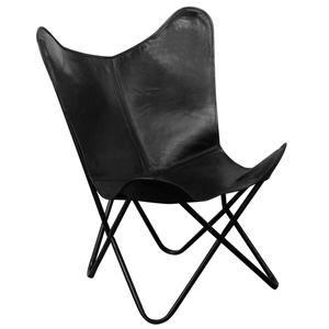 Butterfly-Sessel im Vintage-Sil Schwarz Echtleder
