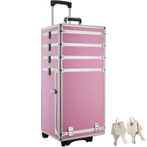 tectake Kosmetiktrolley mit 4 Etagen - pink