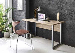 BMG-Moebel.de Büromöbel komplett Set Arbeitszimmer Office Edition Mini in Sonoma Eiche/Weiß Matt (Schreibtisch)