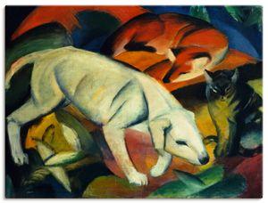 ARTland Leinwandbilder Drei Tiere (Hund Fuchs und Katze). 1912 Leinwandbild auf Keilrahmen Größe: 60x45 cm