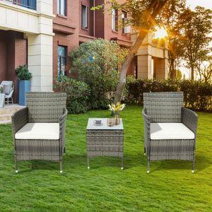 Polyrattan Balkonmöbel Set 2 Personen–1 Tisch & 2 Sessel–Wetterfeste Gartenmöbel set–für Garten, Balkon & Terrasse–inkl. Sitzkissen-Grau
