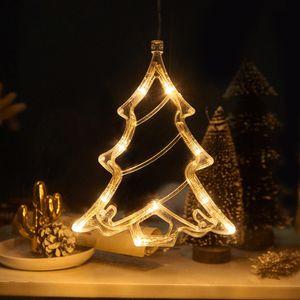 2 Stücke LED Weihnachtsbaum Lichterkette Fensterlicht mit Saugnapf Für Party Weihnachten Hängende Fenster Deko