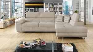 Mirjan24 Ecksofa Cotere, Eckcouch mit Schlaffunktion und Bettkasten, L-Form Sofa vom Hersteller (Uttario Velvet 2979 + Senegal 825, Seite: Rechts)