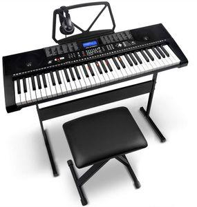 Iropro 61 Tasten Elektronisches Keyboard mit Klavierständer, Sitzhocker und Kopfhörern, 255 Töne, 255 Rhythmen, 24 Demo Songs, Eingebaute Lautsprecher
