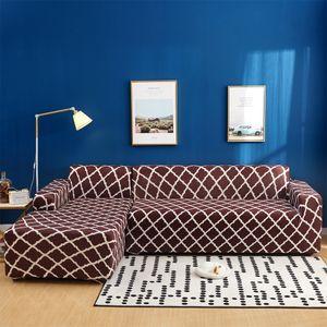Topchances Sofabezug 3 Sitzer+3 Sitzer Sofaüberwürfe für L-Form Sofa elatücke Kisstische Stretch Sofabezug Sofa Überzug, Braun Geometrie