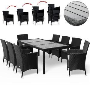 Casaria Poly Rattan Sitzgruppe WPC Tisch Stühle stapelbar Gartenmöbel Sitzgarnitur Garten Set Schwarz, Variante:Sitzgruppe 8+1