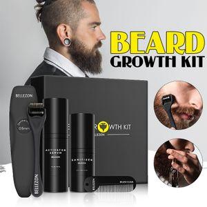 4 Stück / Set Bartwachstumsset Bartwachstumsflüssigkeit für Bart Schnelles Wachstum und Verdickung mit Bartrolle und Kammwerkzeugen Bestes Geschenk für Männer