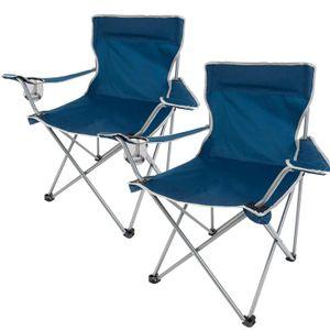 2er Set Faltstuhl, Campingstuhl mit Getränkehalter und Armlehne, leicht und robust, blau