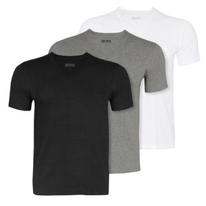 HUGO BOSS 3er Pack V-Neck T-Shirt  Größe L Weiss Grau Schwarz