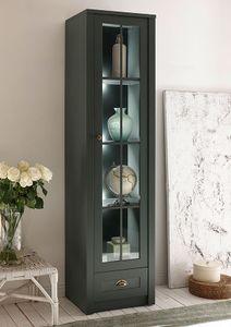 Ascot Vitrine Standvitrine Glasvitrine 50cm grün Landhaus