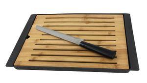 Bambus Schneidebrett mit Krümelfach - inkl. Brotmesser