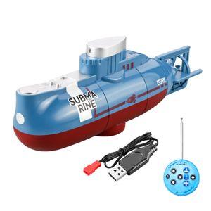 RC-Boote Wasserspielzeug Hochgeschwindigkeits-Rennboot 6 Kanal Fernbedienungsboote zum Pools Rennboot, Wiederaufladbares Mini-U-Boot(Blau)