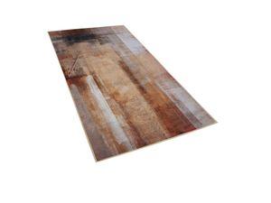 Teppich Beige 80 x 150 Kurzflor mit mehrfarbigem Muster Abstrakt Rechteckig Modern