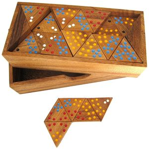 Tridomino mit farbigen Punkten - mit 56 Spielsteinen - für 2 bis 6 Spieler - Triomino - Dreieck-Domino - Legespiel - Gesellschaftsspiel aus Holz mit farbigen Punkten