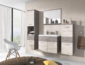 Badmöbel 4-Teilig Set ALO Graue Eiche Ribbeck/Eiche Artwood Farbe mit Waschbecken