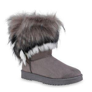 Mytrendshoe Damen Schlupfstiefel Warm Gefütterte Stiefel Kunstfell Schuhe 836021, Farbe: Grau Schwarz Weiß, Größe: 38