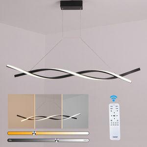 24W LED Dimmbar Deckenlampe Hängeleuchte Pendelleuchte Kronleuchter Esszimmer Schwarz
