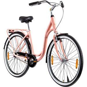 Galano Summer 28 Zoll Singlespeed Hollandrad Damenrad 700c Fixie Fahrrad Single Speed Bike Fixed Gear, Farbe:pfirsich, Rahmengröße:48 cm