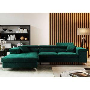 Selsey Wohnlandschaft MIKKARA - moderne Schlafcouch in L-Form / Veloursbezug Dunkelgrün wasserbeständig, Ottomane links freistehend, 280 cm breit