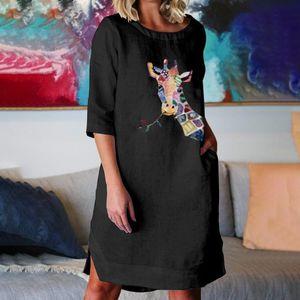 Frauen Herbstkleid O-Ausschnitt Animal Print Taschen Leinen 3/4 Ärmel Loose Dress Größe:XXXXL,Farbe:Schwarz