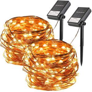 [2 Stück] Solar Lichterkette Außen, 10M 100 LED Lichterketten Aussen, Solar und Batteriebetriebene Kupfer Wasserdichte Lichterketten für Balkon, gartendeko, Bäume, Terr