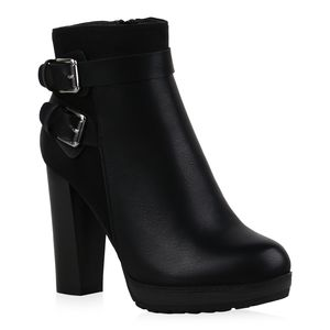 Mytrendshoe Damen Stiefeletten High Heels Leicht Gefüttert Blockabsatz Schuhe 835444, Farbe: Schwarz, Größe: 38