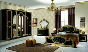 Schlafzimmer Barokko in Schwarz/Gold 6-Teilig 180 x 200 cm - 6-Türig