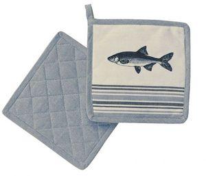 Topflappen, Pottlappen im Maritim Stil mit Fisch Motiv, Baumwolle 20 x 20 cm