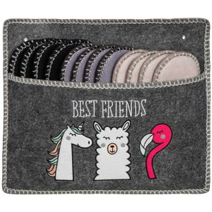 ONVAYA® ABS Gästepantoffel   Best Friends   Lama Einhorn Flamingo   6er Set   Antirutsch Sohle   Hausschuhe   Filzpantoffel   Gr. 36-45   verschiedene Farben   Gästehausschuhe