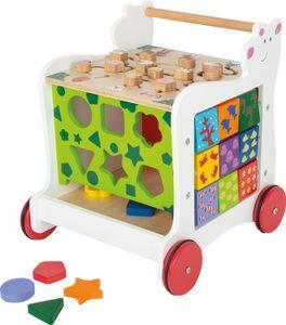 small foot 11841 Lauflernwagen Bär, aus Holz, 4-seitiger Spielspaß, zur Förderung motorischer Fähigkeiten, ab 1 Jahr