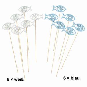 12 Stecker Fische ca 8,5x30cm blau weiß Holz Blumenstecker Deko Holzfische