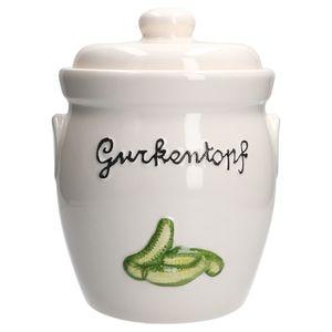 Gurkentopf Gürki 3 Ltr Porzellan weiß Gurkenmotiv Gärtopf Sauerkrauttopf Rumtopf