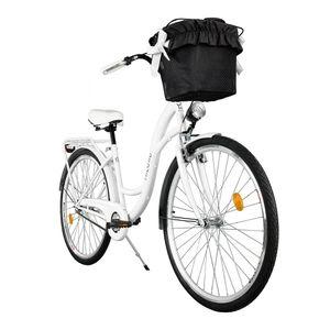Milord Komfort Stadtfahrrad Fahrrad mit Korb Damenfahrrad, 26 Zoll, Weiß, 1-Gang