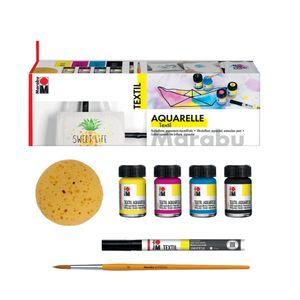 "Marabu Textilfarbe ""Textil Aquarelle"" Starterset 4 x 15 ml auf Wasserbasis"