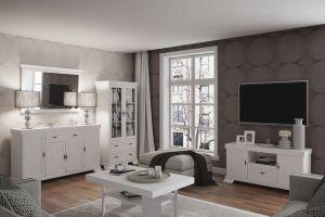 Easy Möbel Wohnzimmer Komplett - Set F Sentis, 5-teilig, Farbe: Kiefer Weiß