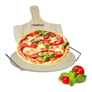 relaxdays Pizzastein Set rund