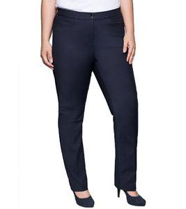 sheego Bügelfalten-Hose gerade geschnittene Damen Business-Hose Große Größen Marine, Größe:48