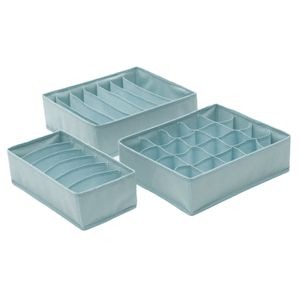 3 Teile/satz Unterwäsche Bh Socken Krawatten Schublade Lagerung Organizer Boxen Closet Divider Ordentlich Farbe Grau Blau