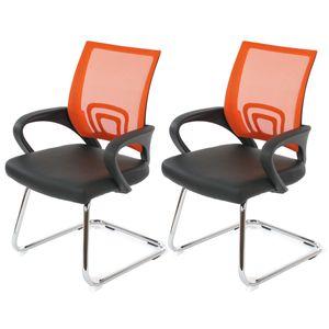 2x Konferenzstuhl Ancona, Besucherstuhl, Kunstleder  orange