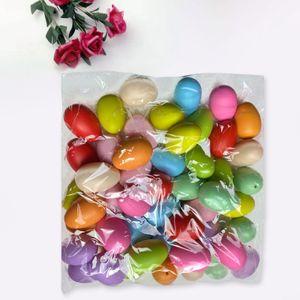 50 Stück Ostereier zählen bunte Plastikfälschung mit Schnur DIY Malerei Geschenk QIU210106022C