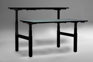 eUp 3 Workbench Doppelarbeitsplatz, elektrisch höhenverstellbar, Farbe und Größe wählbar, Größe Tischplatte:180 x 80 cm, Gestellfarbe:Schwarz, Farbe Tischkante:Schwarz, Farbe Tischplatte:Buche Hell