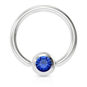 viva-adorno 1,6x12x5mm Universal Piercing Ring BCR Kristall Lippenring Klemmring Septumpiercing Brustpiercing Chirurgenstahl Z507,blau