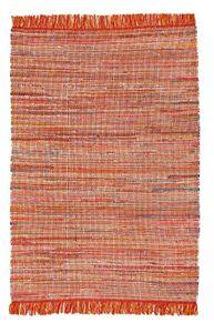 Flickenteppich Orange 120 x 170 cm Teppich Baumwolle Handwebteppich Fleckerl Fransen Waschbar