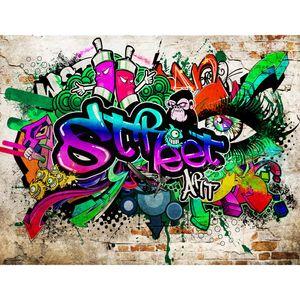 Graffiti Steinwand 9218c RUNA Graffiti Steinwand VLIES FOTOTAPETE XXL DEKORATION TAPETE− WANDDEKO 308 x 220 cm